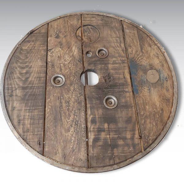 table basse plateau sapin cerclage metallique diamètre 75cm