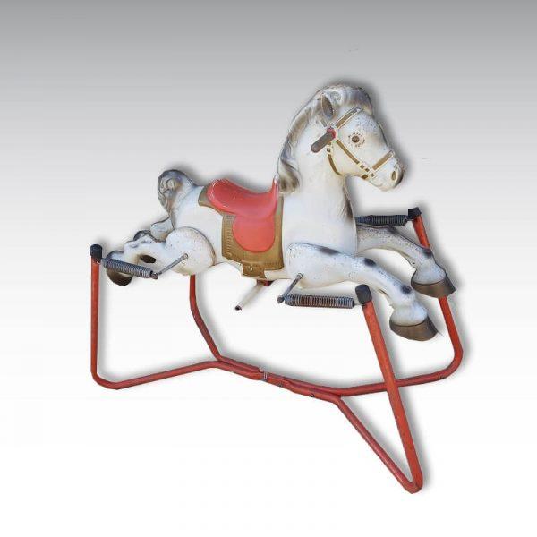 cheval a bascule sur ressort en tole jouet enfant
