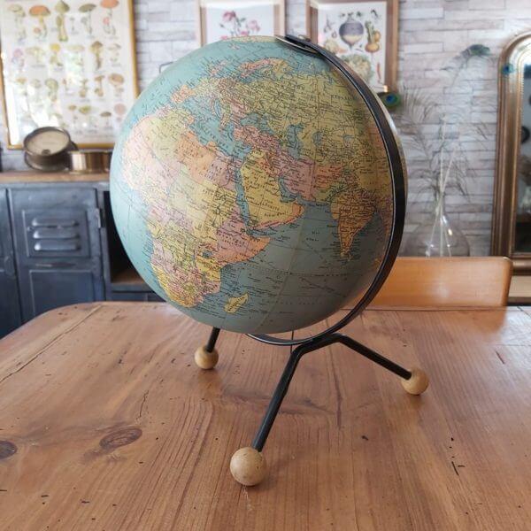 mappemonde globe terrestre taride 1963 carte papier tripode