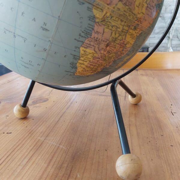 mappemonde globe terrestre taride tripode boules bois
