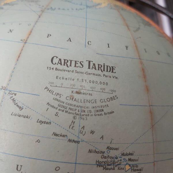 globe terrestre 1963 mappemonde carte papier tripode