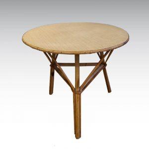 table basse rotin tripode plateau vinyle