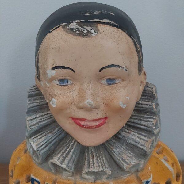présentoir buste publicitaire sucettes pierrot gourmand platre peint année 1950