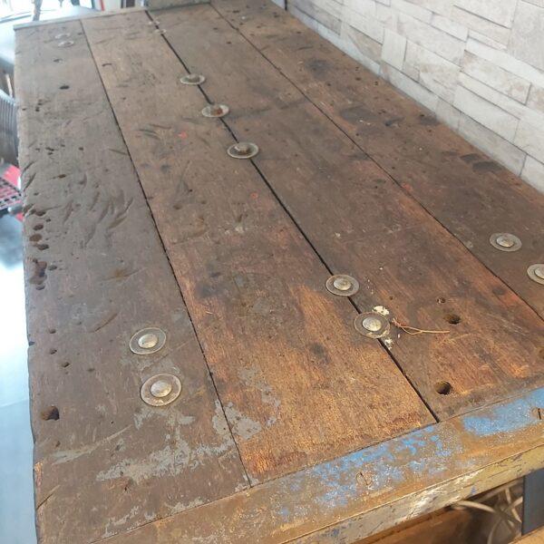 ancien etabli de plombier patine plateau bois pieds acier