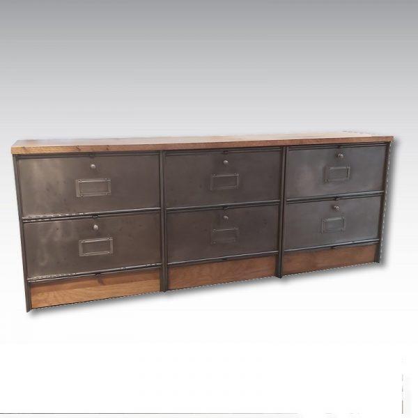 meuble à clapet acier ronéo strafor colonne à clapet plateau chene massif