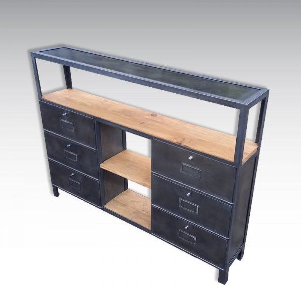 console industrielle acier et bois