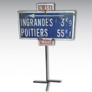 panneau routier Indre Nationale 151 plaque emaillée Ingrandes Poitiers