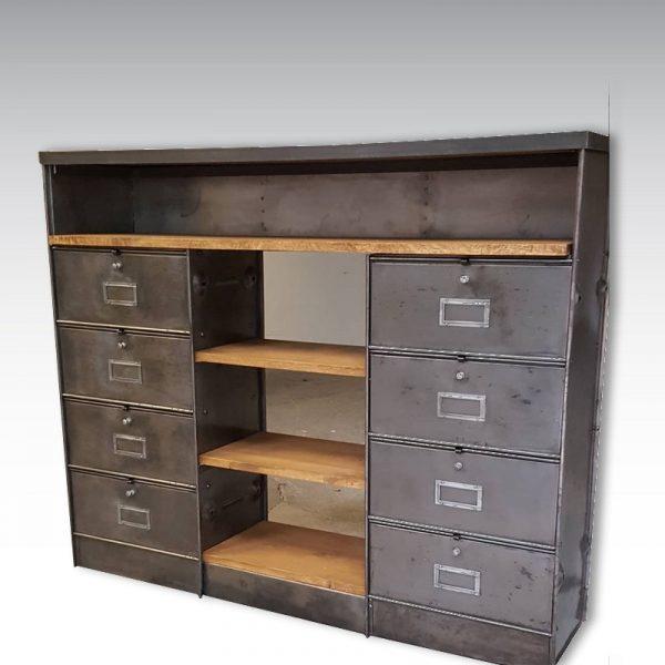 meuble de rangement à clapets ronéo étagères en chêne massif mobilier industriel