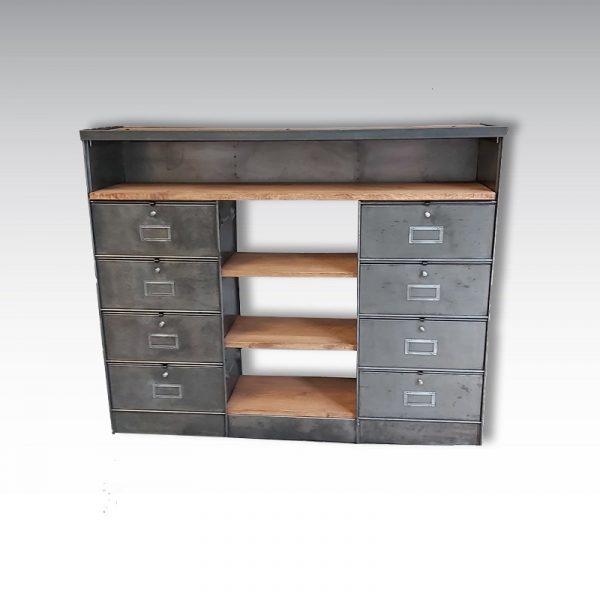 meuble de rangement à clapets ronéo étagères en chêne massif meuble industriel