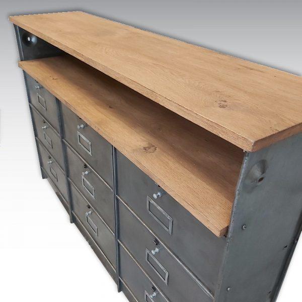 meuble de rangement colonnes à clapets ronéo acier plateau chêne massif