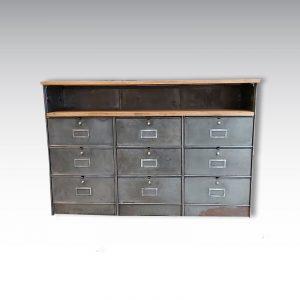 meuble de rangement colonnes à clapets ronéo acier plateau chêne massif meuble industriel